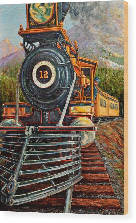 Train Wood Print featuring the painting No.12 In The Mountains by Gary Symington