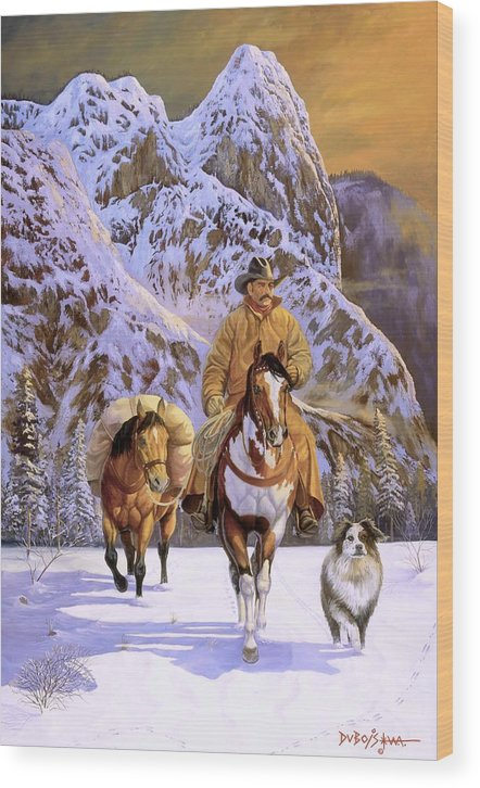 Cowboy Wood Print featuring the painting Pardners by Howard Dubois