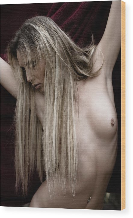 Sensual Wood Print featuring the photograph See Me by Olivier De Rycke