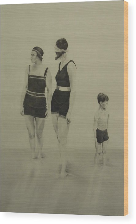 Figurative Wood Print featuring the drawing Two Women Bathers With Child by John C