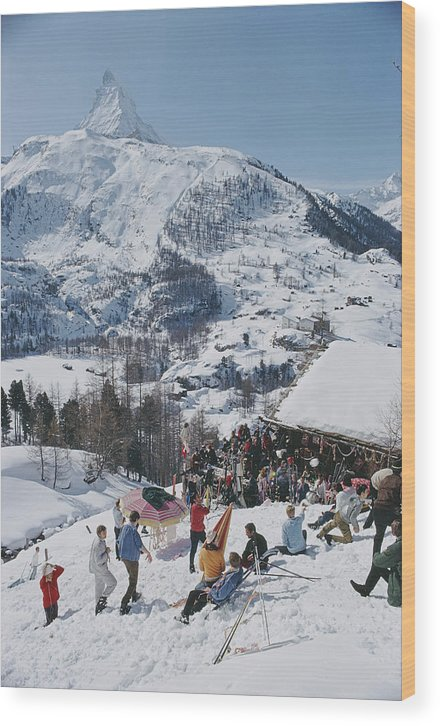 People Wood Print featuring the photograph Zermatt Skiing by Slim Aarons