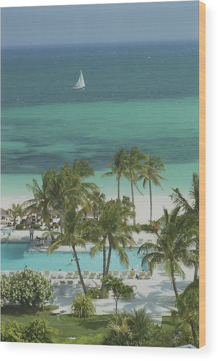 Swimming Pool Wood Print featuring the photograph Freeport Beach by Slim Aarons