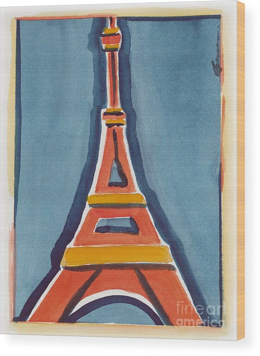 Effel Tower Wood Print featuring the painting Eiffel Tower Orange Blue by Robyn Saunders