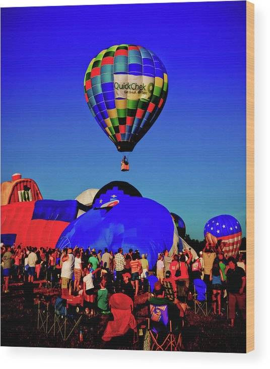 29th Annual Quick Chek New Jersey Festival Of Ballooning Wood Print featuring the photograph First Ascension by David Hahn