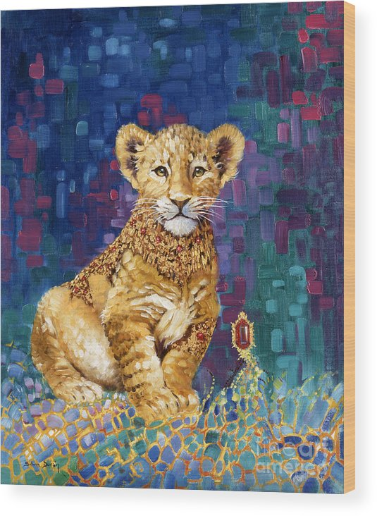 Lion Cub Wood Print featuring the painting Lion Prince by Silvia Duran