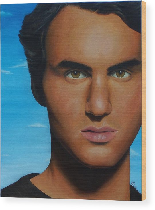 Portrait Wood Print featuring the painting Roger Federer by Kim Nelson