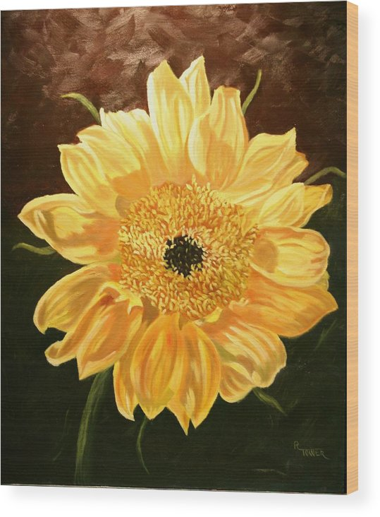 Sunflower Wood Print featuring the painting Solar Power by Robert Tower