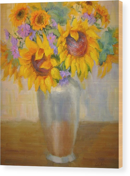 Sunflowers Wood Print featuring the painting Sunflowers In A Silver Vase by Bunny Oliver