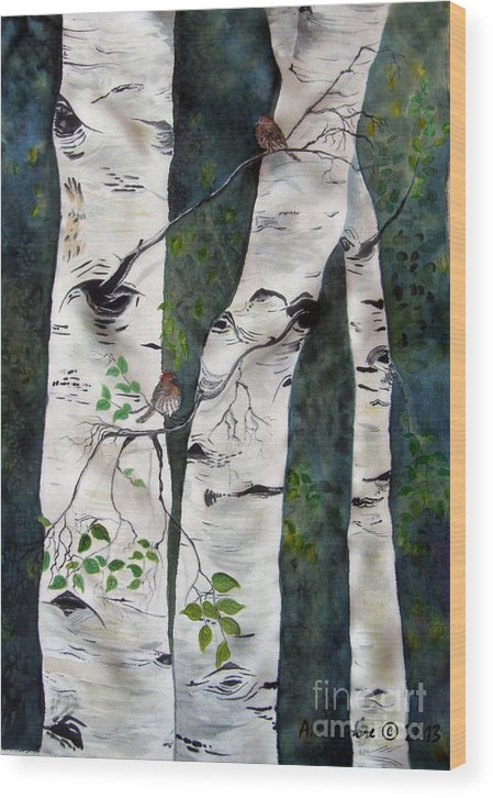 Aspens Wood Print featuring the painting Morning In The Grove by Anderson R Moore