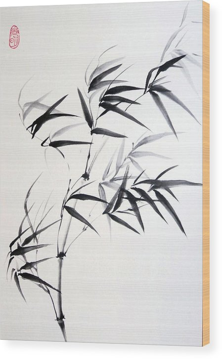 Bamboo Wood Print featuring the painting Sprig Of Bamboo by Svetlana Ilyina
