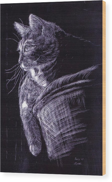 Cat Wood Print featuring the painting Cat At The Window by Roger Parnow