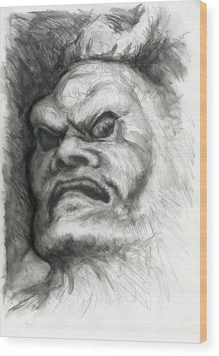 Fantasy Wood Print featuring the drawing Japanese Demon by Tim Thorpe