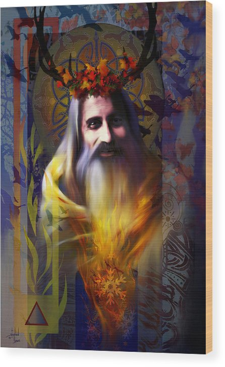 Wiccan Wood Print featuring the digital art Midwinter Solstice Fire Lord by Stephen Lucas