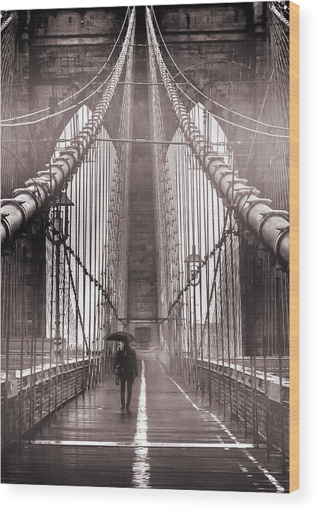 Brooklyn Bridge Wood Print featuring the photograph Mystery Man Of Brooklyn by Az Jackson