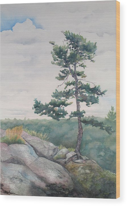 Tree Wood Print featuring the painting Over The Shield by Debbie Homewood