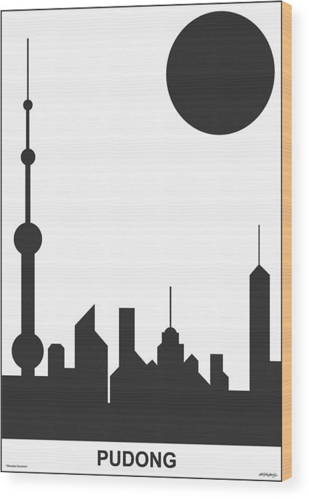 Shanghai Sunshine Wood Print featuring the digital art Shanghai Sunshine Black White by Asbjorn Lonvig