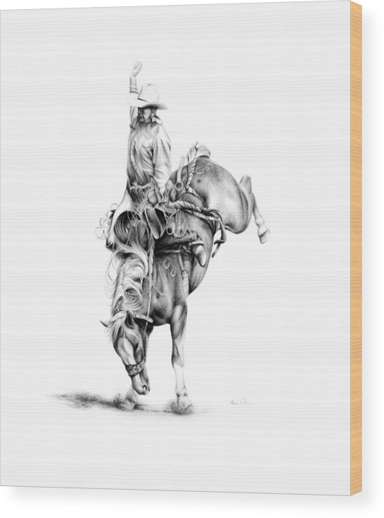 Rodeo Scene Wood Print featuring the drawing A Good Ride by Karen Elkan
