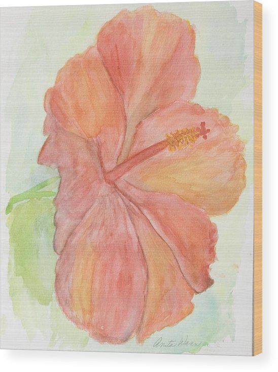 Flower Wood Print featuring the painting Hibiscus by Anita Wann
