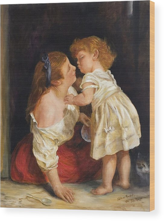 Mother And Child Wood Print featuring the print The Kiss After John Morgan 1800 by Kathleen Marshall McConnell