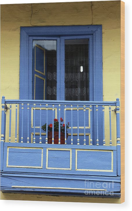 Blue Balcony In Sopo Wood Print featuring the photograph Blue Balcony In Sopo by John Rizzuto