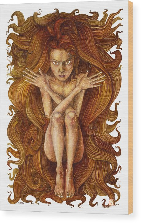 Watercolor Wood Print featuring the painting Angel by Connor Maguire