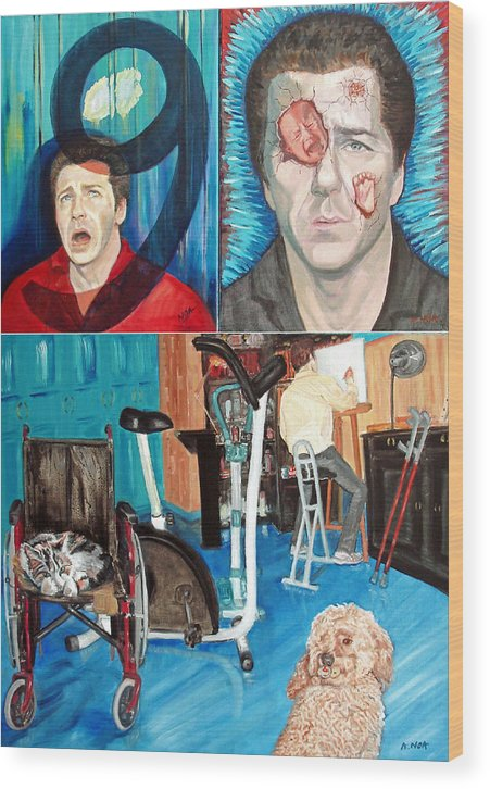 Portrait Wood Print featuring the painting Long Disease by Aymeric NOA