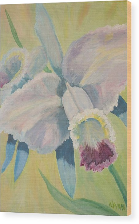 Flower Wood Print featuring the painting Orchid by Anita Wann