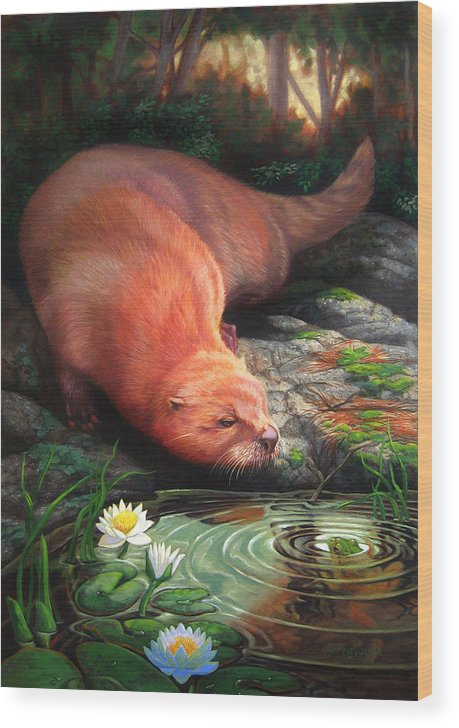 Otter Wood Print featuring the painting Otter by Pat Lewis