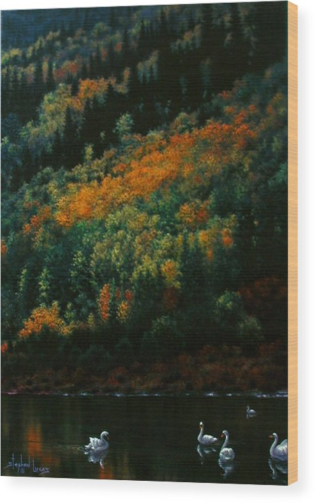Scenic Wood Print featuring the painting Sentinels Of September Serenity by Stephen Lucas
