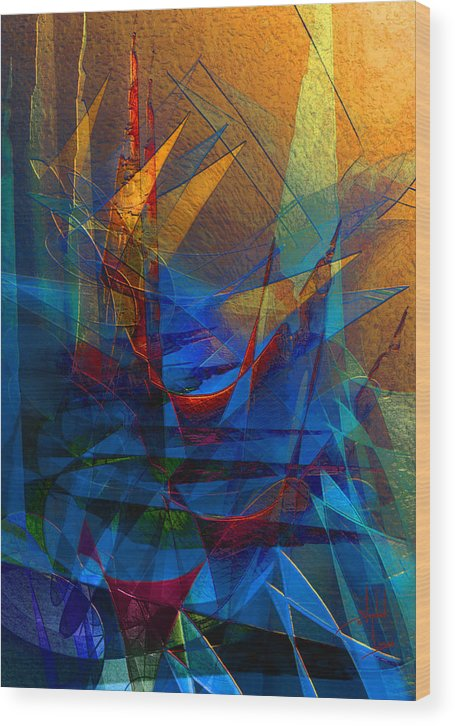 Abstract Wood Print featuring the digital art Stairway Upon Grail Passeges by Stephen Lucas