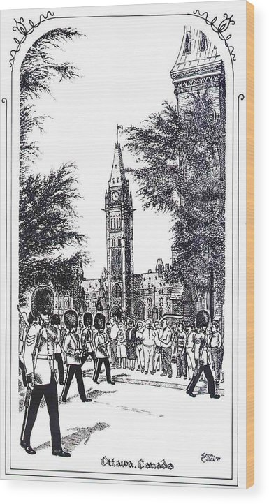Cityscape Wood Print featuring the mixed media Changing Of The Guard Ottawa 1995 by John Cullen