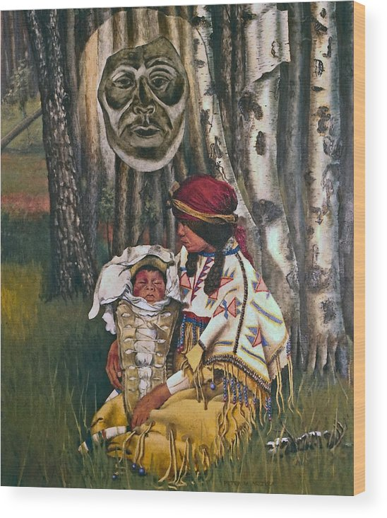 Native American Wood Print featuring the painting Birth Spirit by Peter Muzyka