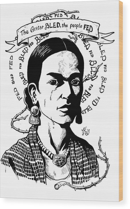 Frida Wood Print featuring the drawing Frida by Marcus Anderson