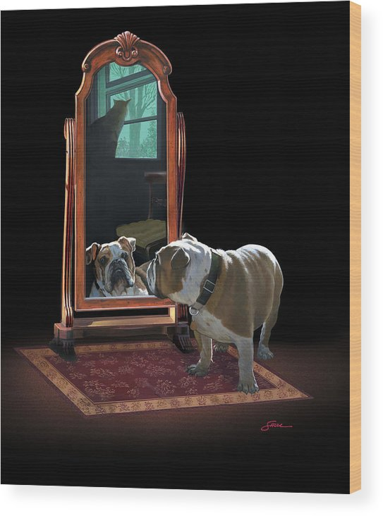 #english Bulldog Wood Print featuring the painting Double Trouble by Harold Shull
