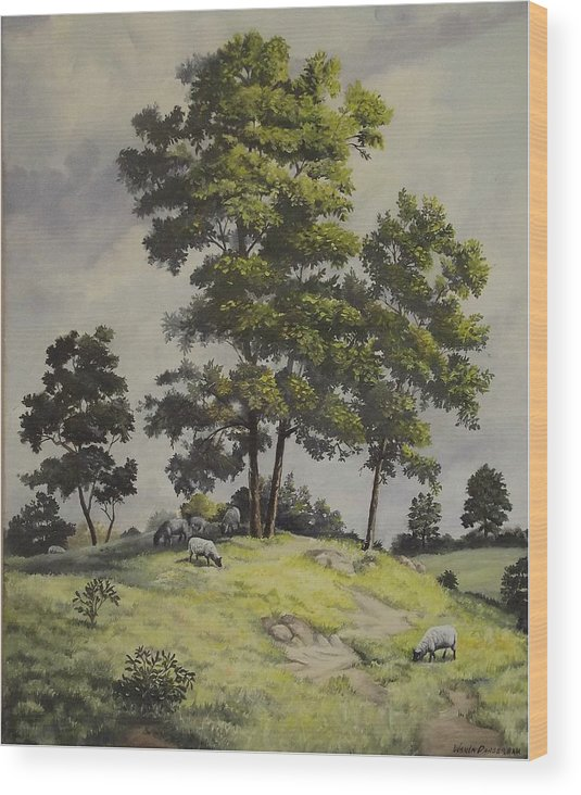 Landscape Wood Print featuring the painting A Lazy Day For Grazing by Wanda Dansereau