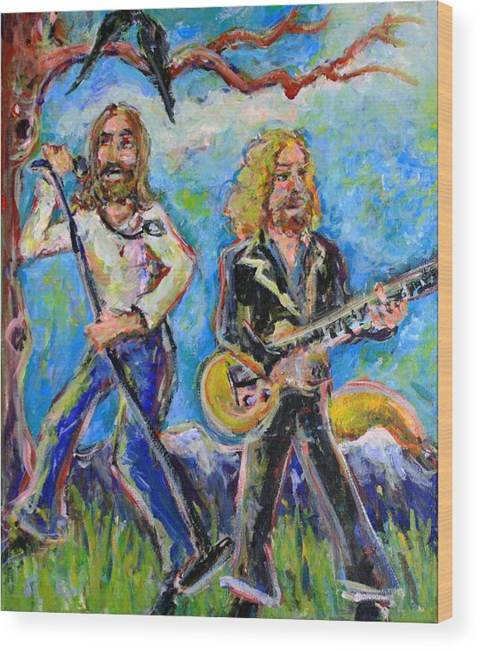 The Black Crowes Wood Print featuring the painting My Morning Song - The Black Crowes by Jason Gluskin