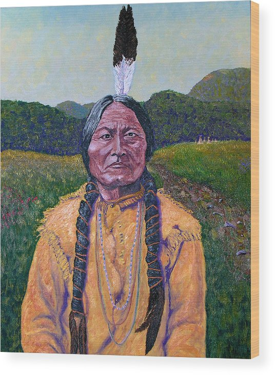 Sitting Bull Wood Print featuring the painting Sitting Bull by Stan Hamilton