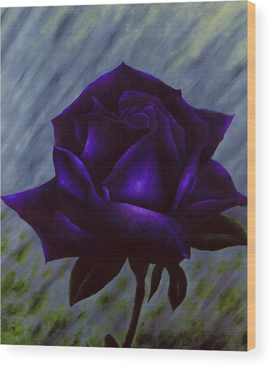 Rose Wood Print featuring the painting Purple Rose by Brandon Sharp