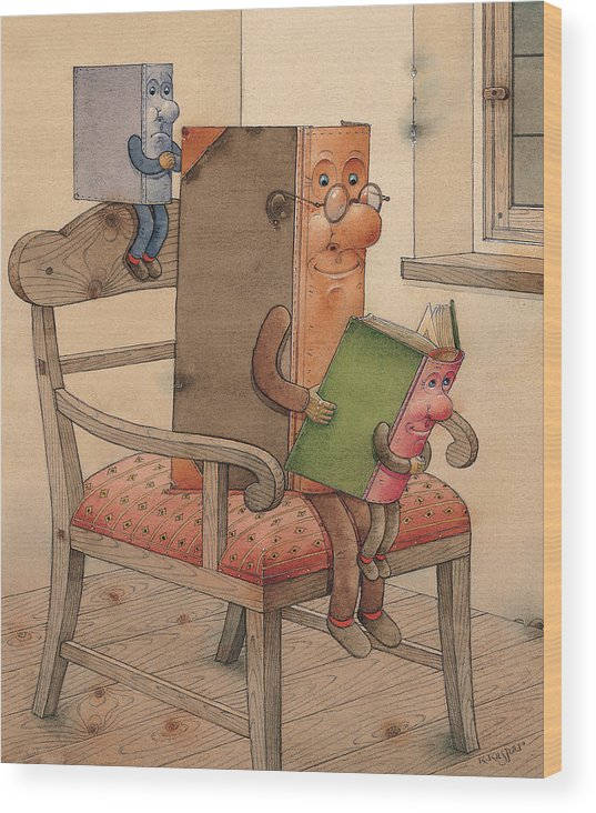 Books Wood Print featuring the painting Three Books by Kestutis Kasparavicius