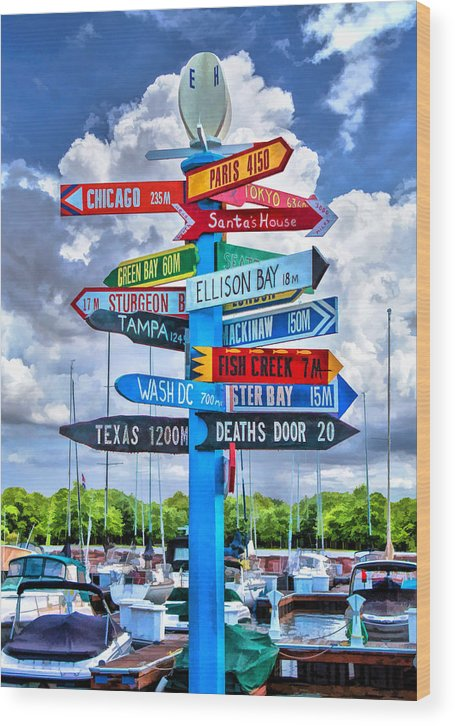 Door County Wood Print featuring the painting Door County Directional Sign in Egg Harbor by Christopher Arndt