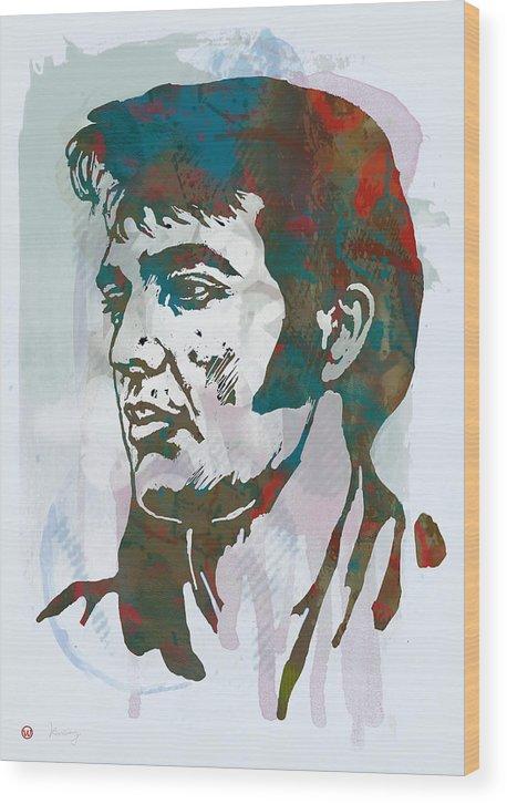 Elvis Presley - Modern Art Drawing Poster. Elvis Aaron Presleya (january 8 Wood Print featuring the drawing Elvis Presley - Modern etching pop art poster by Kim Wang