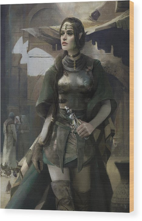 Female Wood Print featuring the painting Phial by Eve Ventrue