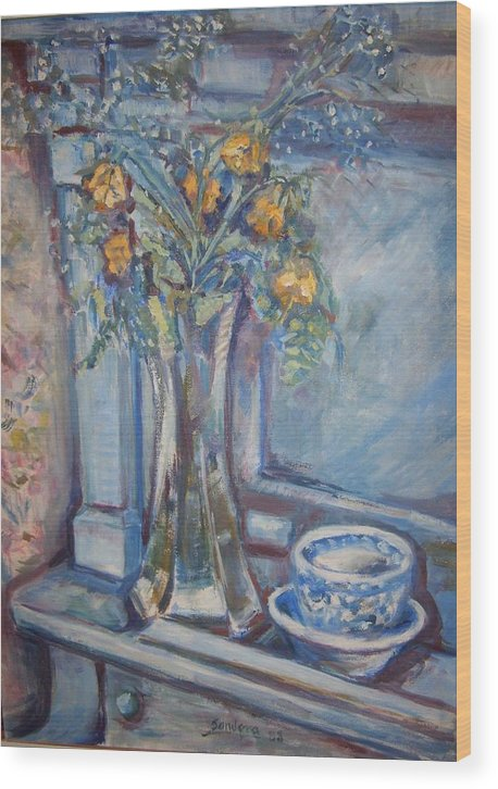 Still Life Flowers Roses Piano Wood Print featuring the painting Roses On Piano by Joseph Sandora Jr