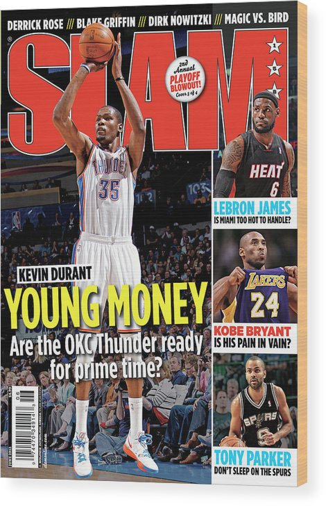 Kevin Durant Wood Print featuring the photograph Kevin Durant: Young Money SLAM Cover by Getty Images