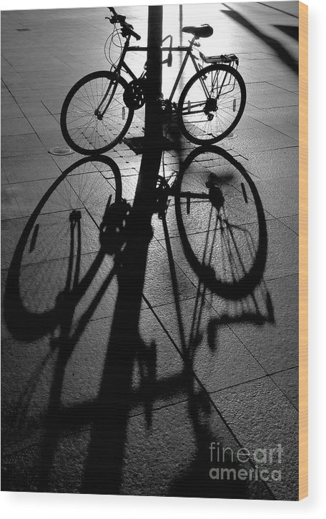 Bicycle Wood Print featuring the photograph Bicycle shadow by Sheila Smart Fine Art Photography
