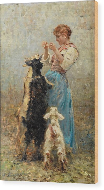 Young Woman feeding Goats by Vincenzo Caprile