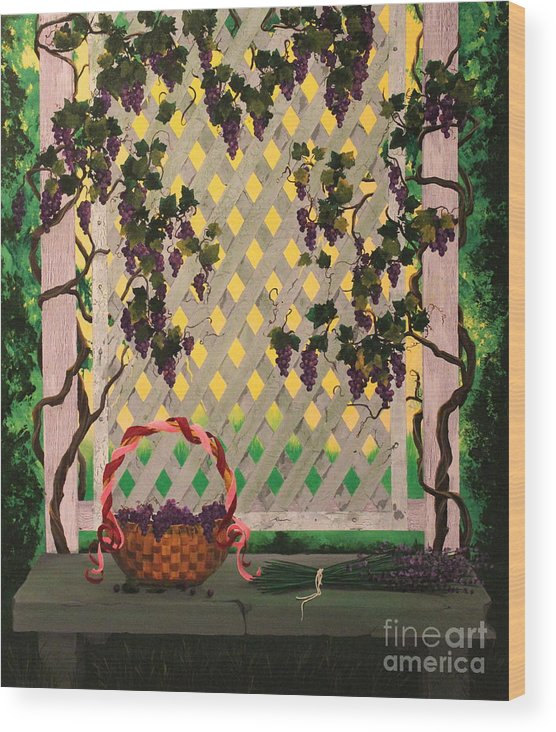 Dlgerring Wood Print featuring the painting Lambrusco And Lavender by D L Gerring