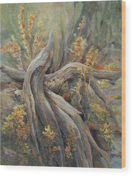 Landscape Wood Print featuring the painting New Beginnings by Don Trout