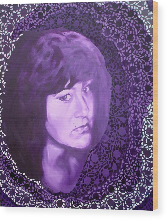 Portrait Wood Print featuring the painting Purple And Lace by Davinia Hart