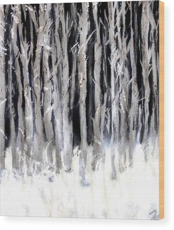 Forest Wood Print featuring the painting Silver Trees by Michela Akers